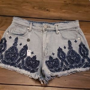 Blank NYC Embroidered Shorts